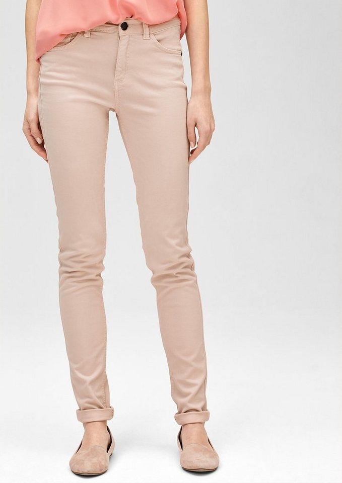 s.Oliver PREMIUM Slim: Colored Stretch-Jeans in papaya