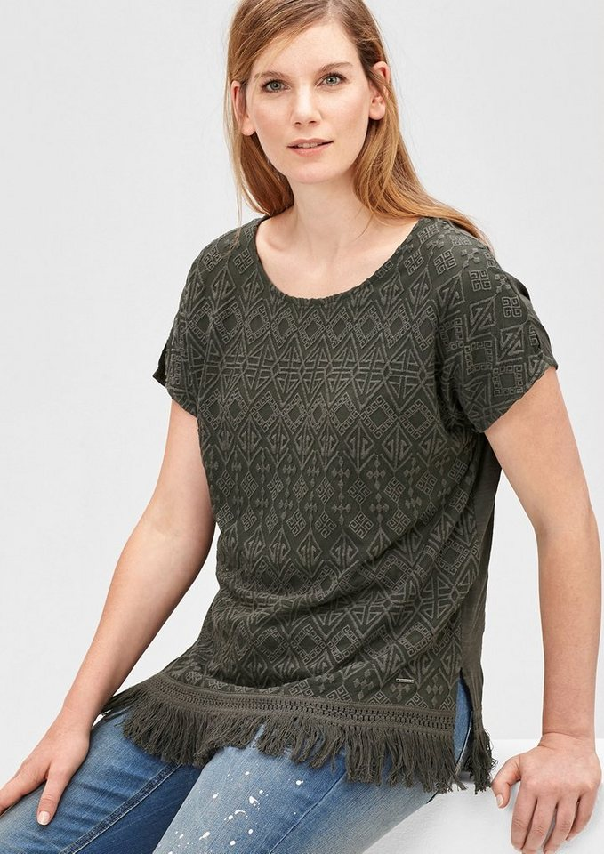 TRIANGLE Besticktes Shirt mit Fransensaum in dark khaki