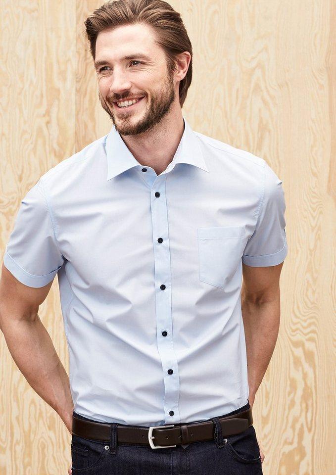 s.Oliver PREMIUM Slim: Hemd mit kurzen Ärmeln in gentian blue