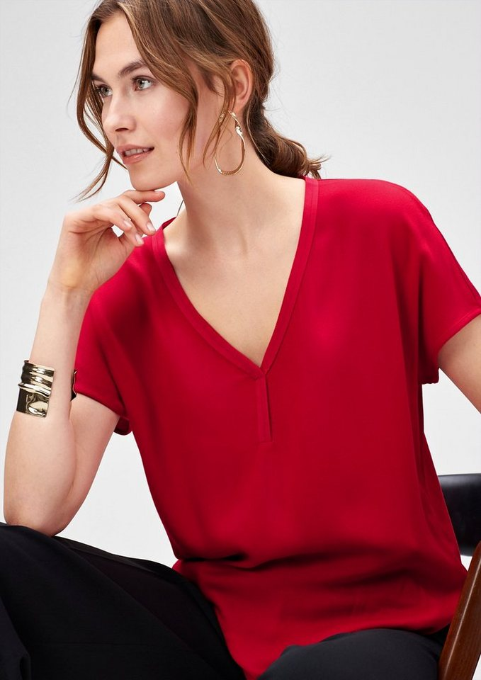 s.Oliver PREMIUM Paspeliertes Blusenshirt in love red