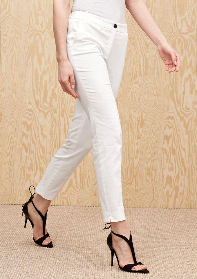 s.Oliver PREMIUM Slim: Hose aus Baumwollsatin in summer white