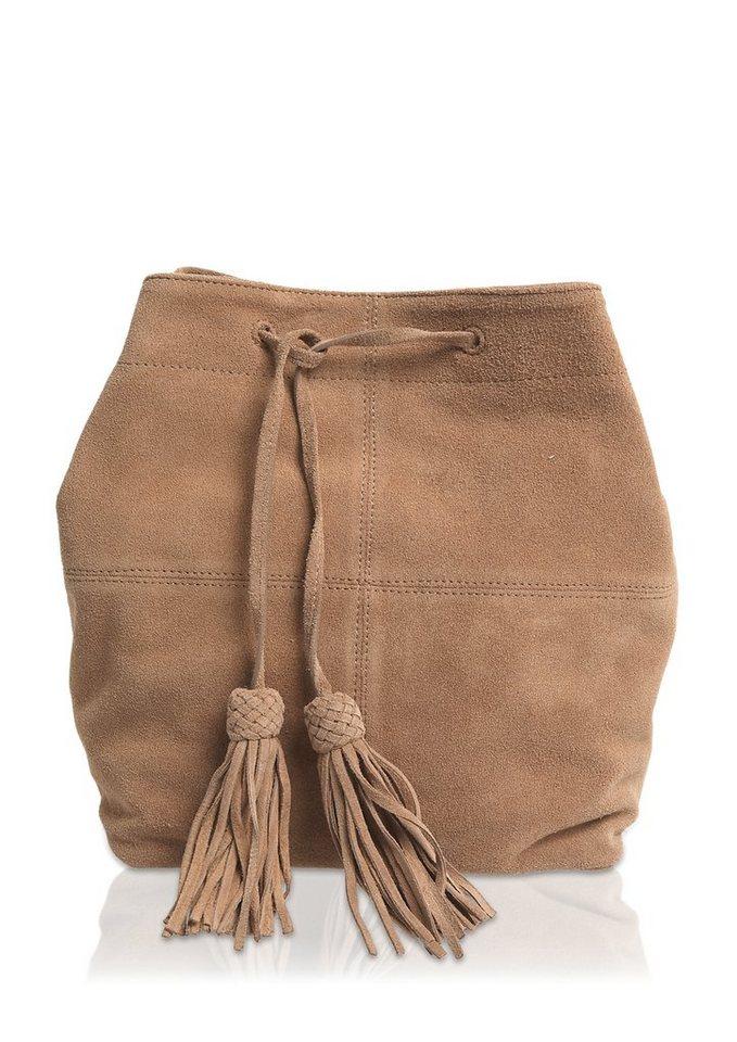 s.Oliver Veloursledertasche mit Quasten in brown