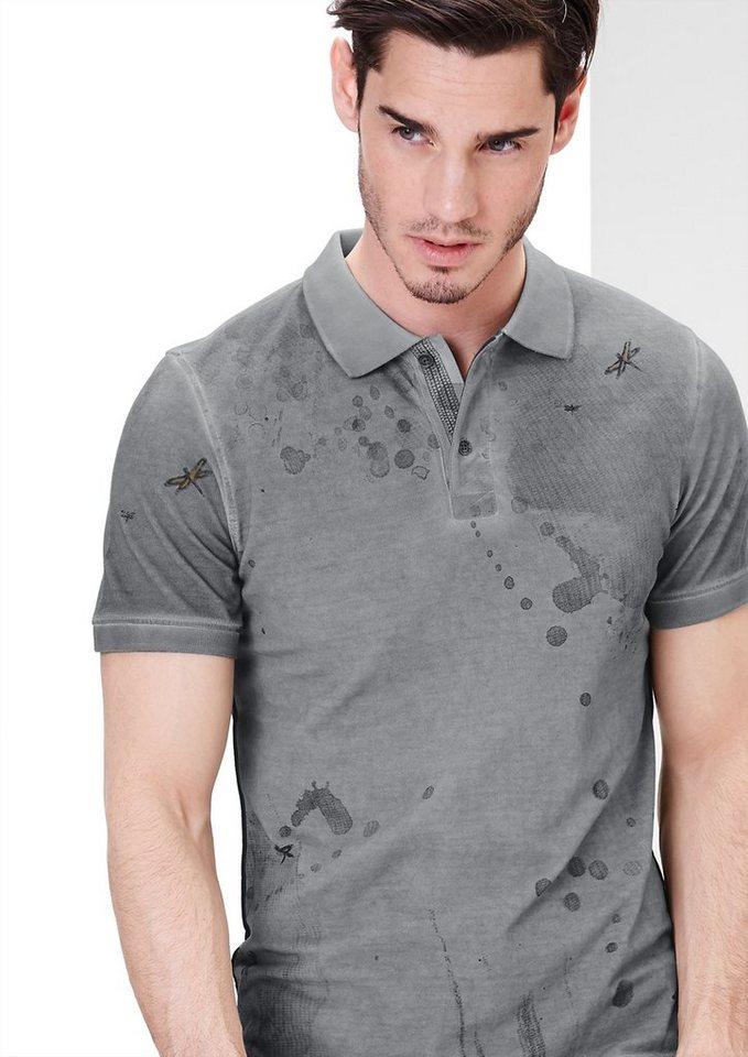 s.Oliver RED LABEL Poloshirt mit Dye-Effekten in cold grey AOP