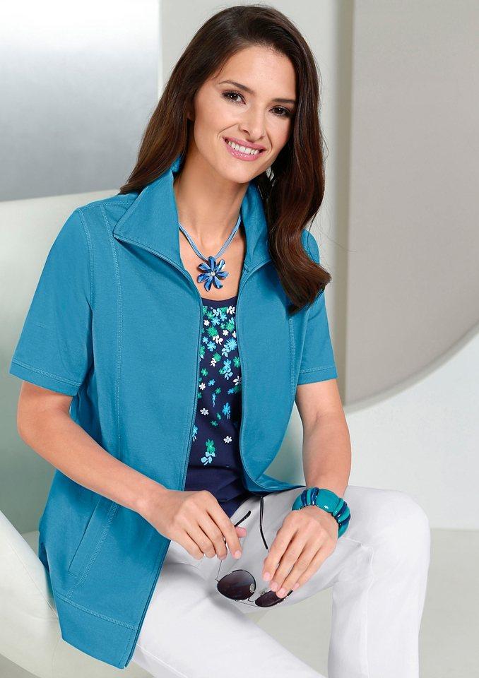 Classic Basics Shirtjacke mit Umlegekragen in türkis