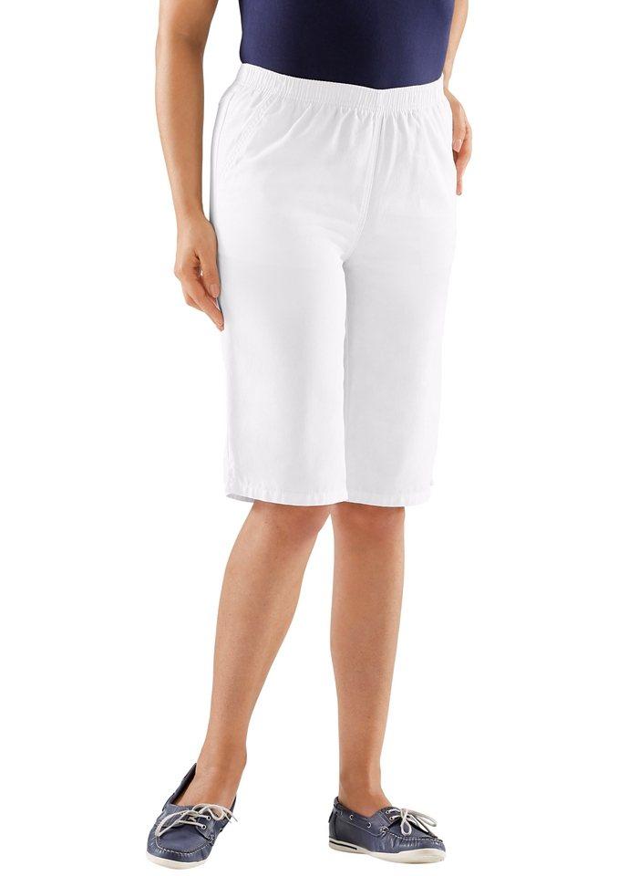 Classic Basics Bermudas mit formgebenden Sattel hinten in weiß