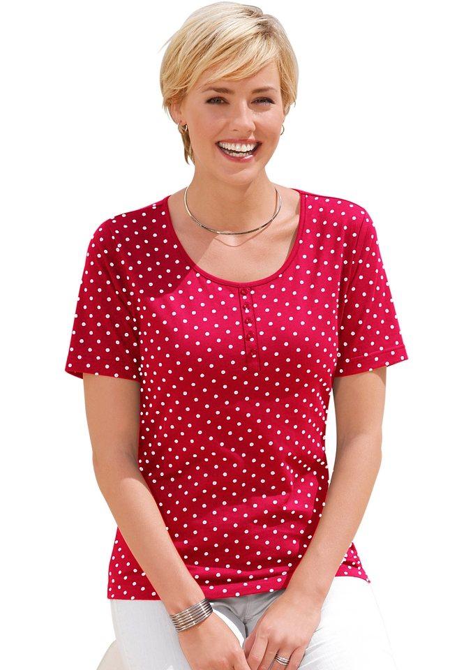Collection L. Shirt mit Zierknopfleiste in rot-weiß-getupft