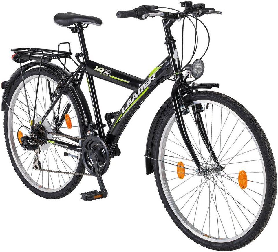 All-Terrain-Bike »Leader«, 24 / 26 Zoll, SHIMANO 21 Gang, StVZO Ausstattung in schwarz