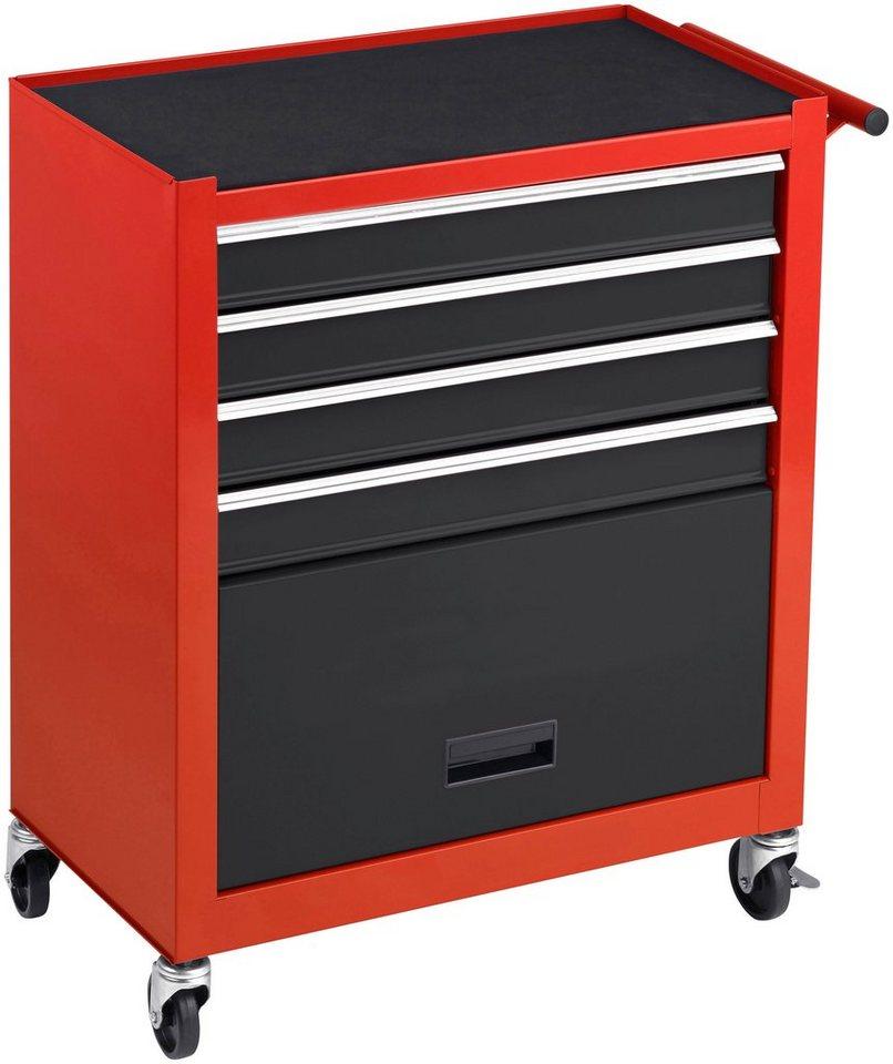 Unbefüllter Werkstattwagen, 4 Schubladen und Griffmulde in rot