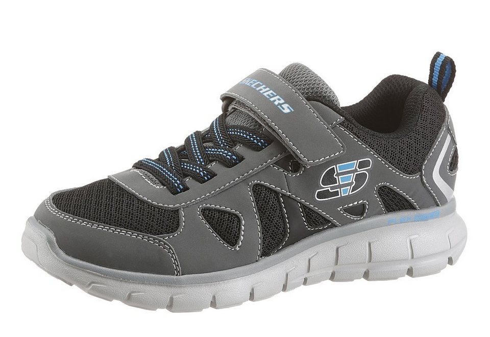 Skechers Kids »Vim - Speed Thru« Sneaker mit Klettverschluss in grau-schwarz-türkis