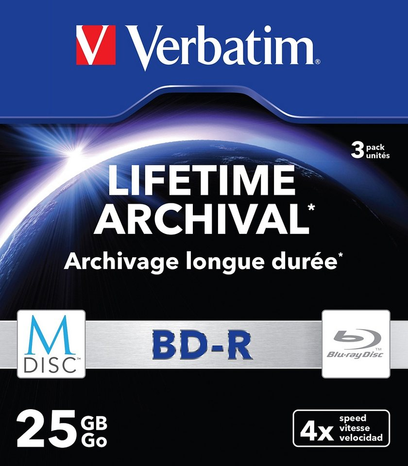Verbatim M-DISC BD-R 25GB/1-4x Slimcase (3 Disc) in silver