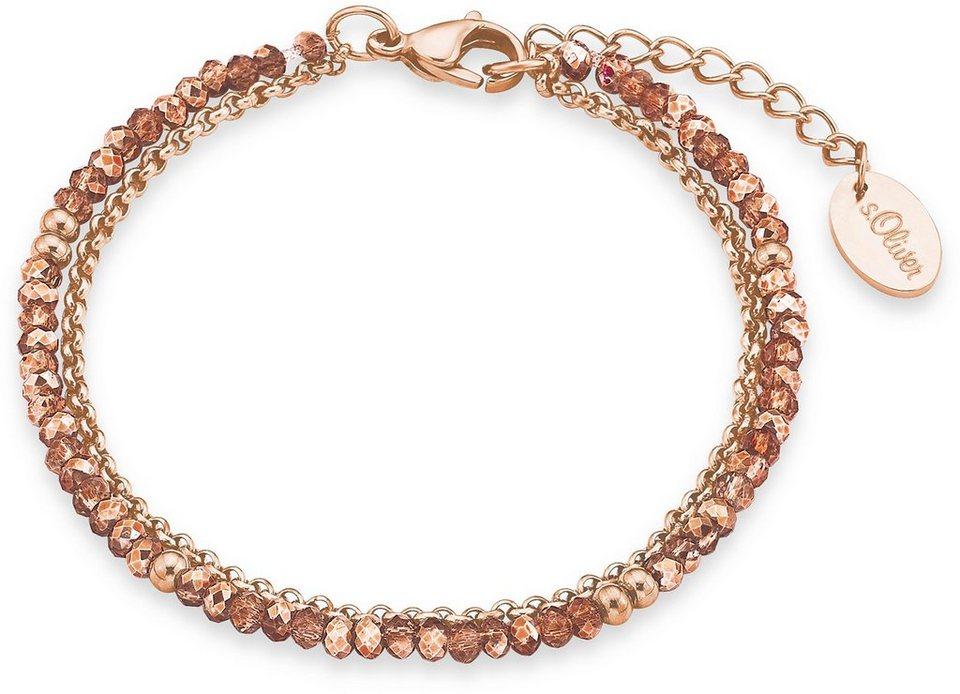 s.Oliver Armband mit Glassteinen, »9292042« in roségoldfarben-apricotfarben