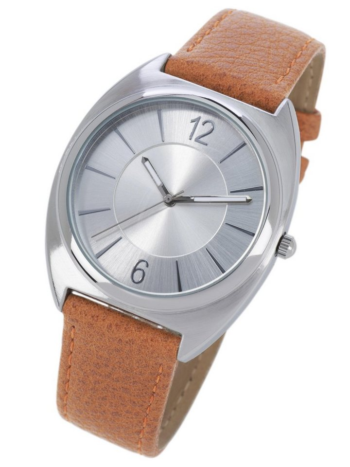 Armbanduhr in cognac/silberfarben