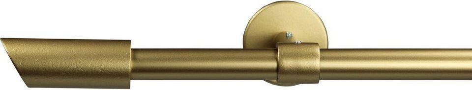 Gardinenstange 16 mm Zyli, ohne Ringe, mit geschlossenen Träger, nach Maß in gold matt