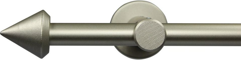 Gardinenstange nach Maß Ø 20 mm, Garesa, »Spitze«, ohne Ringe, mit geschlossenem Träger in chrom matt