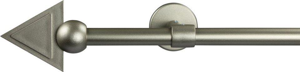 Gardinenstange 16 mm Pyra, ohne Ringe, mit geschlossenen Träger, nach Maß in chrom matt