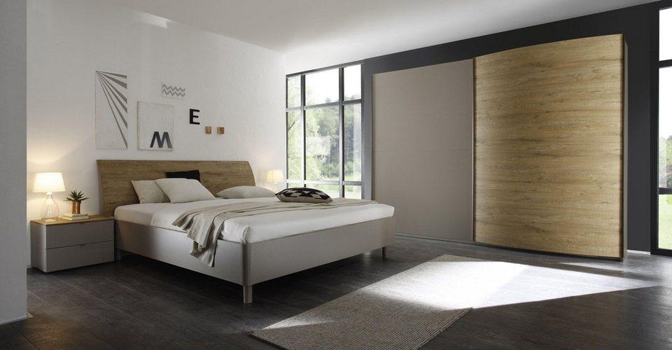 LC Schlafzimmer-Set (4-tlg.) in beige matt/eichefarben natur