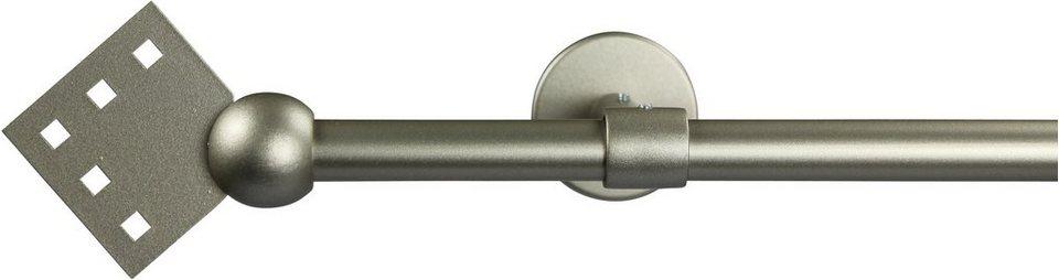 Gardinenstange 16 mm Quadro, ohne Ringe, mit geschlossenen Träger, nach Maß in chrom matt