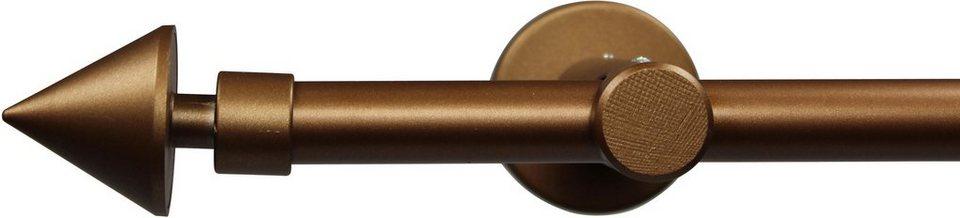 Gardinenstange nach Maß Ø 20 mm, Garesa, »Speer«, ohne Ringe, mit geschlossenem Träger in bronze
