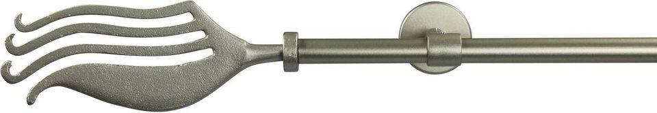Gardinenstange 16 mm Cantus, ohne Ringe, mit geschlossenen Träger, nach Maß in chrom matt