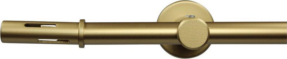 Gardinenstange nach Maß Ø 20 mm, Garesa, »Slot«, ohne Ringe, mit geschlossenem Träger in gold matt