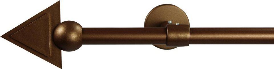 Gardinenstange 16 mm Pyra, ohne Ringe, mit geschlossenen Träger, nach Maß in bronze