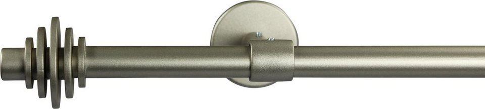 Gardinenstange 16 mm Disc, ohne Ringe, mit geschlossenen Träger, nach Maß in chrom matt
