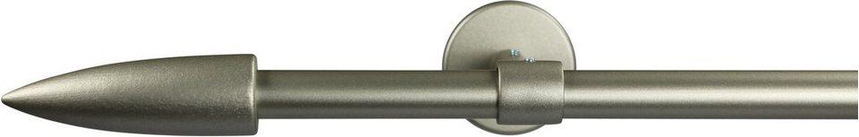 Gardinenstange 16 mm Speedy, ohne Ringe, mit geschlossenen Träger, nach Maß in chrom matt