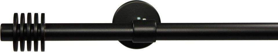 Gardinenstange 16 mm Space, ohne Ringe, mit geschlossenen Träger, nach Maß in schwarz