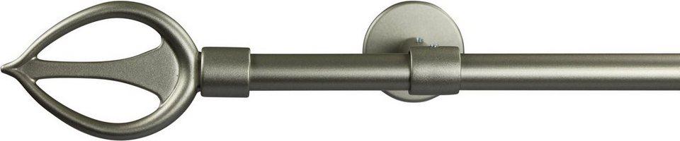 Gardinenstange 16 mm Duna, ohne Ringe, mit geschlossenen Träger, nach Maß in chrom matt