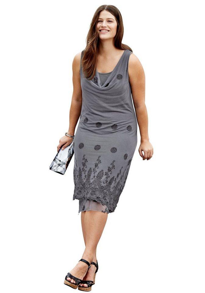 sheego Style Spitzenkleid in steingrau