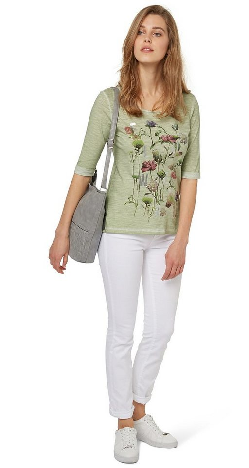 TOM TAILOR T-Shirt »dyed flowerful shirt« in fresh mint green
