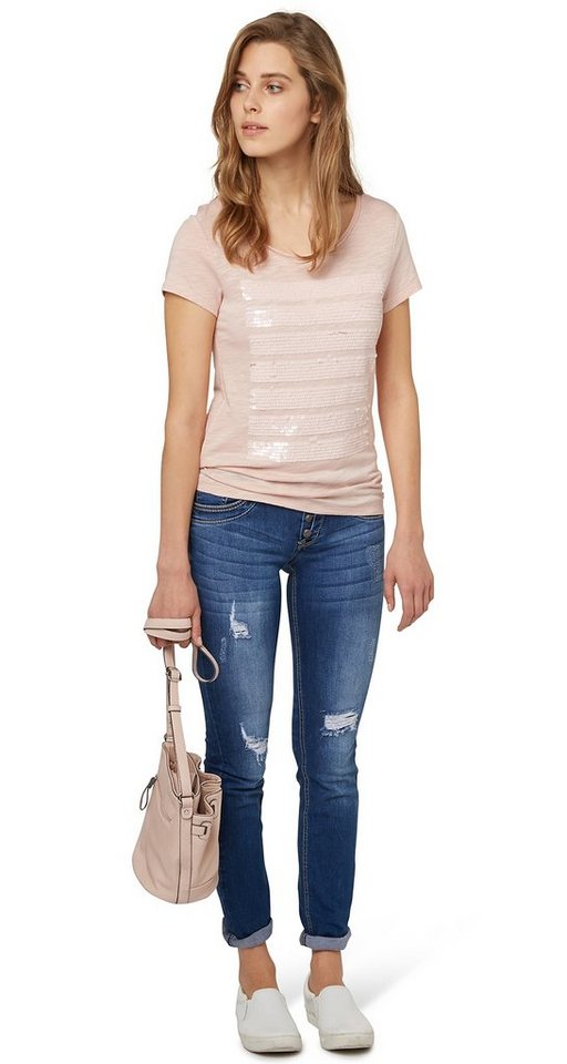 TOM TAILOR T-Shirt »T-Shirt mit Pailletten« in cherry blossom pink
