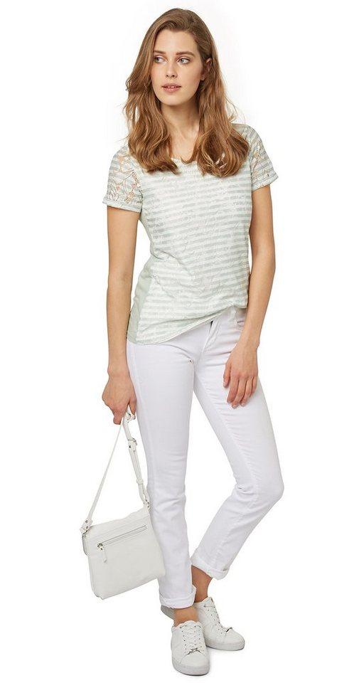 TOM TAILOR T-Shirt »Shirt mit Spitze und Streifen-Print« in fresh mint green