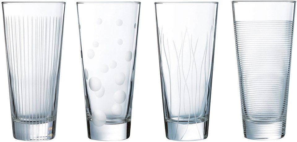 Luminarc Longdrink-Gläser-Set, 4 Stück, 38 cl, »LOUNGE CLUB« in transparent