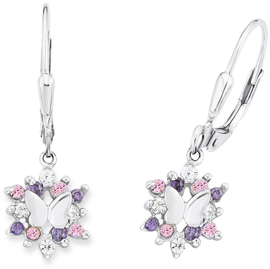 Prinzessin Lillifee Paar Ohrhänger, mit Zirkonia, »Schmetterling, PLFS/80« in Silber 925-rosa-flieder