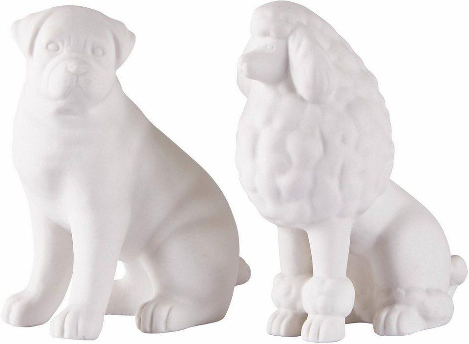 Home affaire Dekofiguren »Hund« (2-tlg.) in weiß