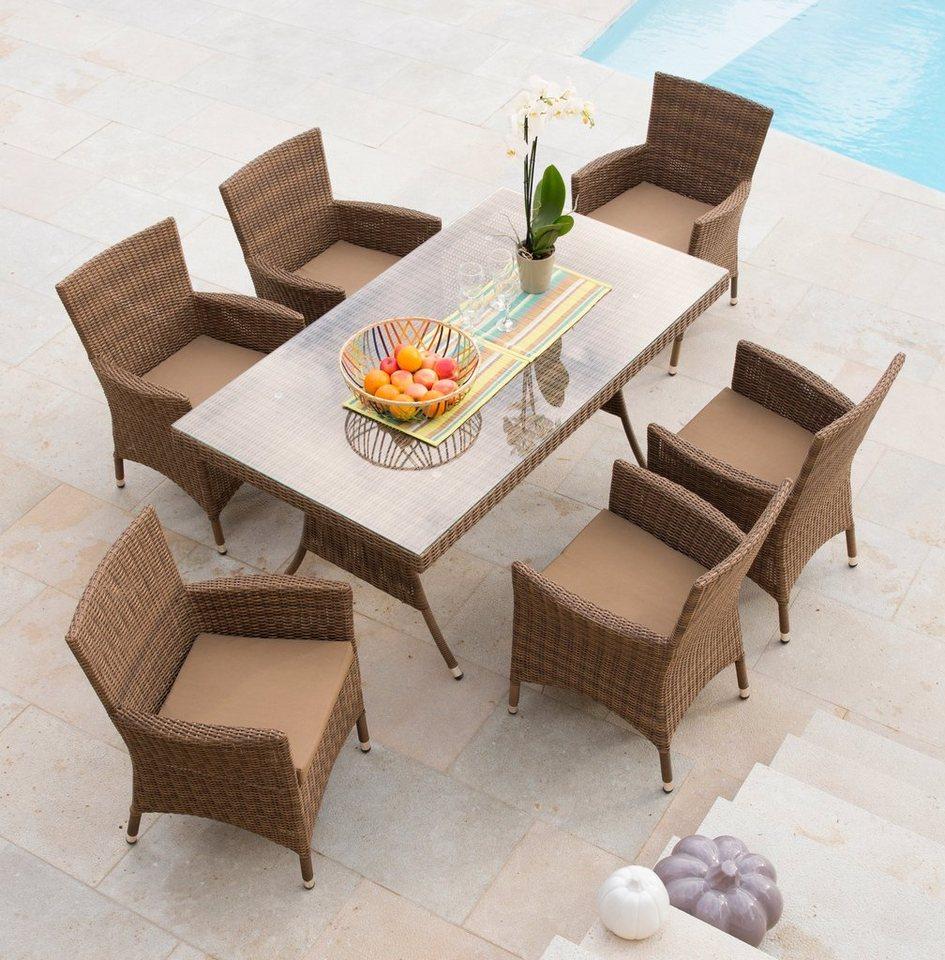 13-tlg. Gartenmöbelset »Marokko«, 6 Sessel, Tisch160x90 cm, Polyrattan, hellbraun in hellbraun