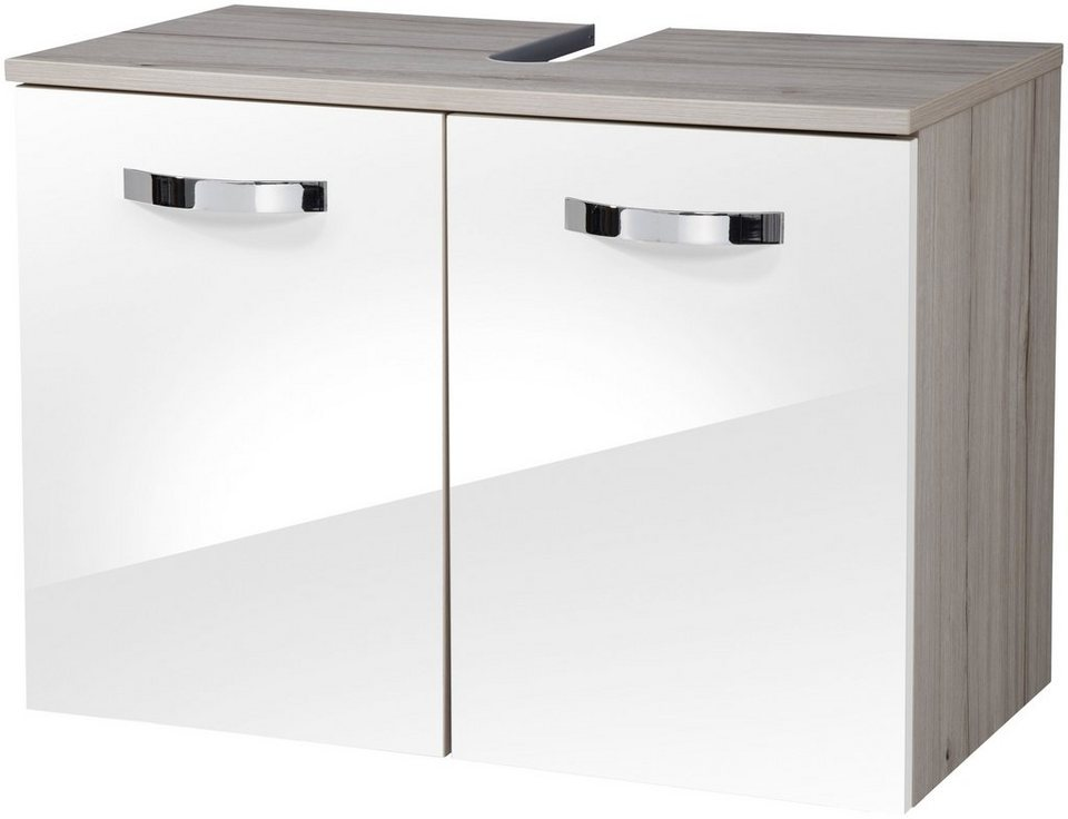 Schildmeyer Waschbeckenunterschrank »Monaco« 65 cm in weiß/eichefarben hell