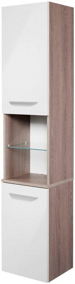 Hochschrank »Lavella«, Breite 35,5 cm in eichefarben/weiß x eichefarben/weiß