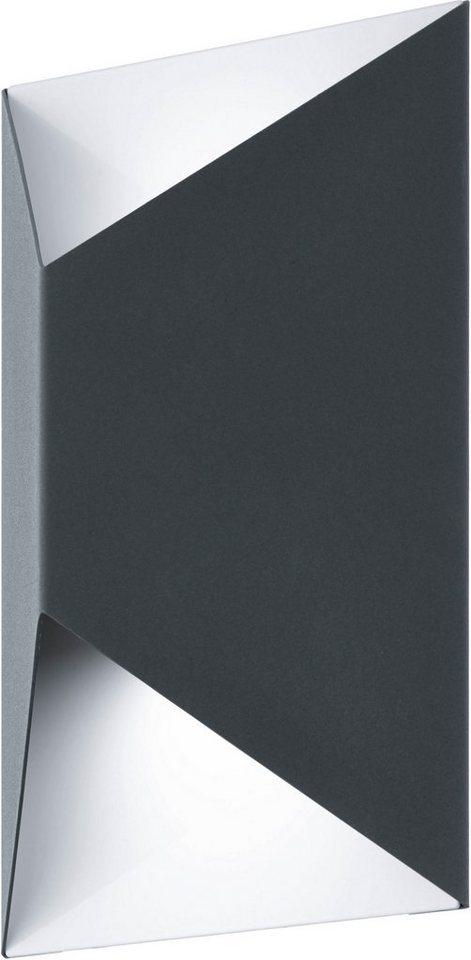 Eglo LED Außenleuchte, 2 flg., Wandleuchte, »Predazzo« in verzinkter Stahl, anthrazit/weiß