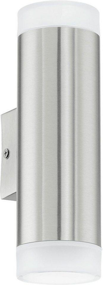 Eglo LED Außenleuchte, 2flg., Wandleuchte, »RIGA-LED« in Edelstahl/Kunststoff, teilsatiniert