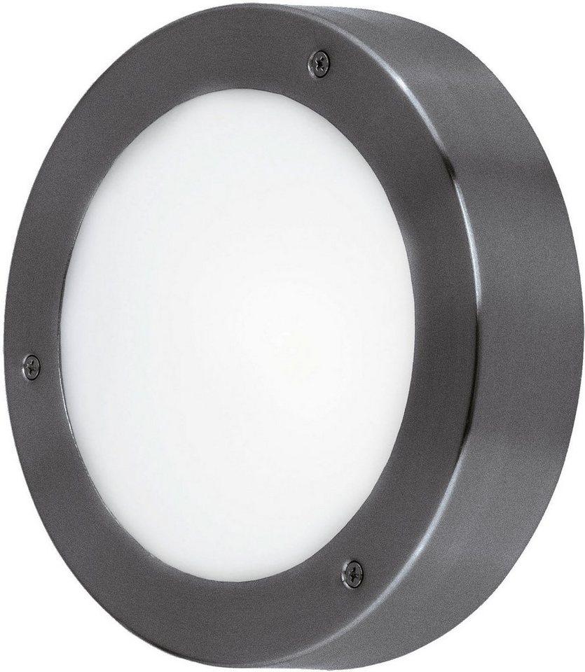 Eglo LED Außenleuchte, 1 flg., Wandleuchte, »Vento1« in verzinkter Stahl, anthrazit  - Glas satiniert, weiß