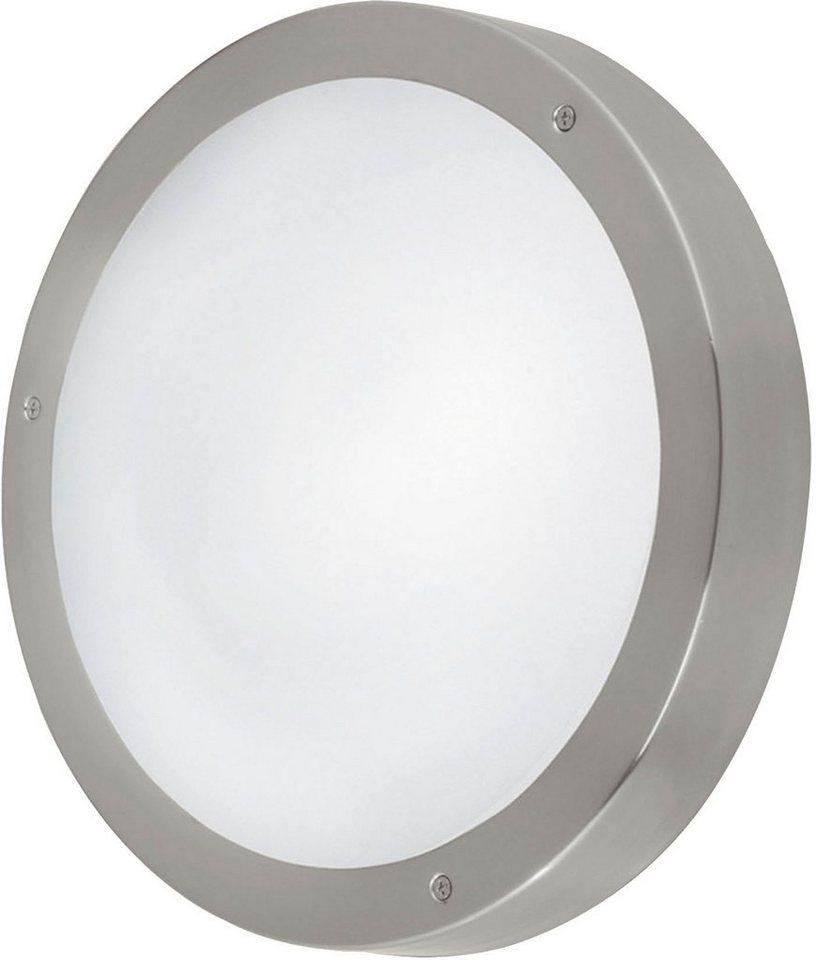 Eglo LED Außenleuchte, 3 flg., Wandleuchte, »Vento1« in Edelstahl/Glas weiß lackiert