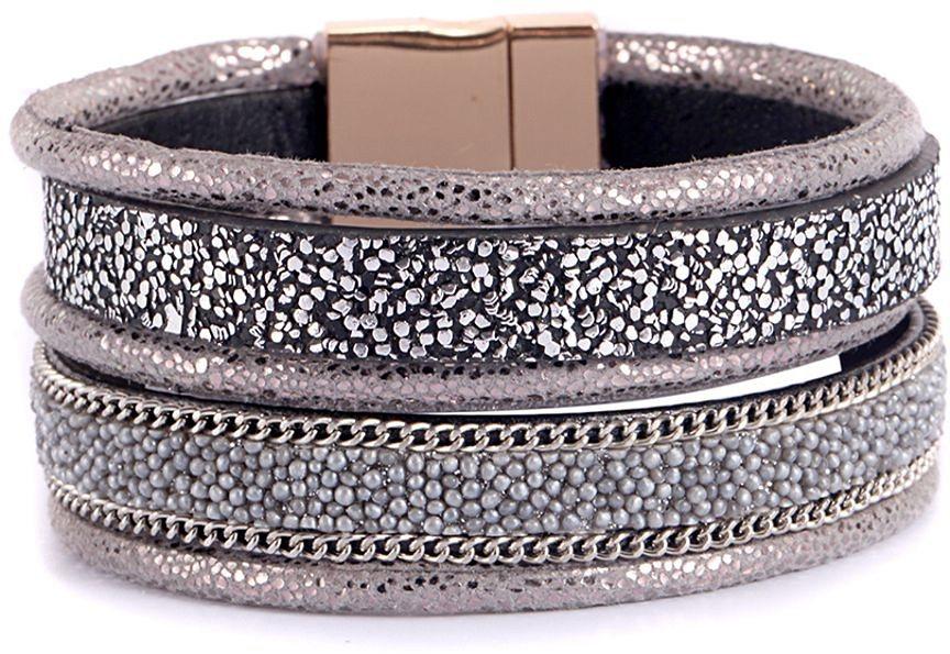 firetti Armband in Silberfarben-Grau-Schwarz