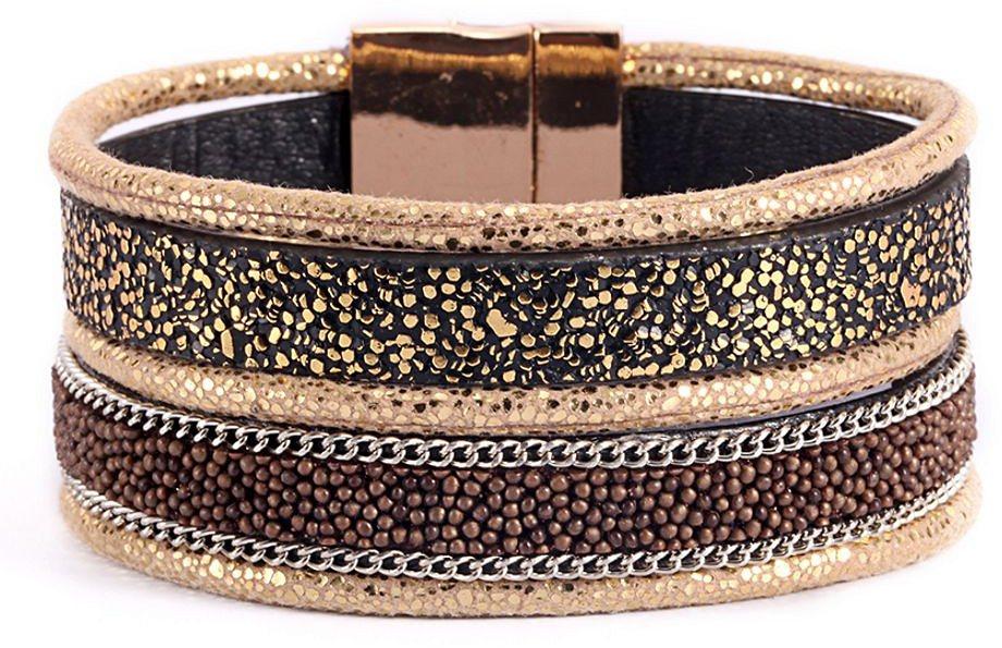 firetti Armband in Silberfarben-Beige-Schwarz