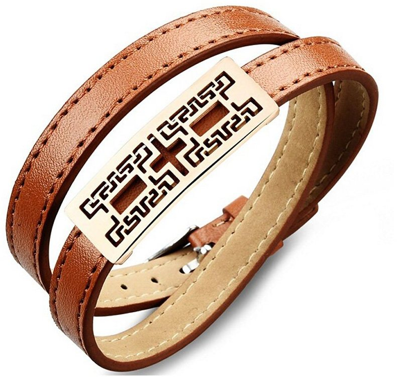 firetti Armband zum Wickeln in roségoldfarben/braun