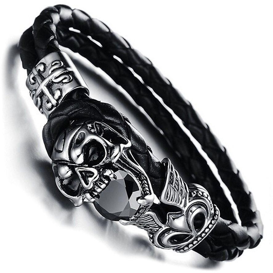 Firetti Armband »Totenkopf«, mit schwarzem Zirkonia