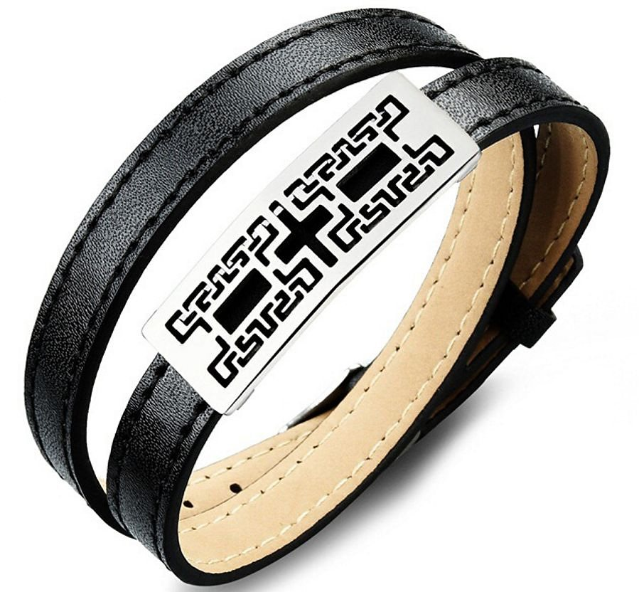 firetti Armband zum Wickeln in Silberfarben-Schwarz