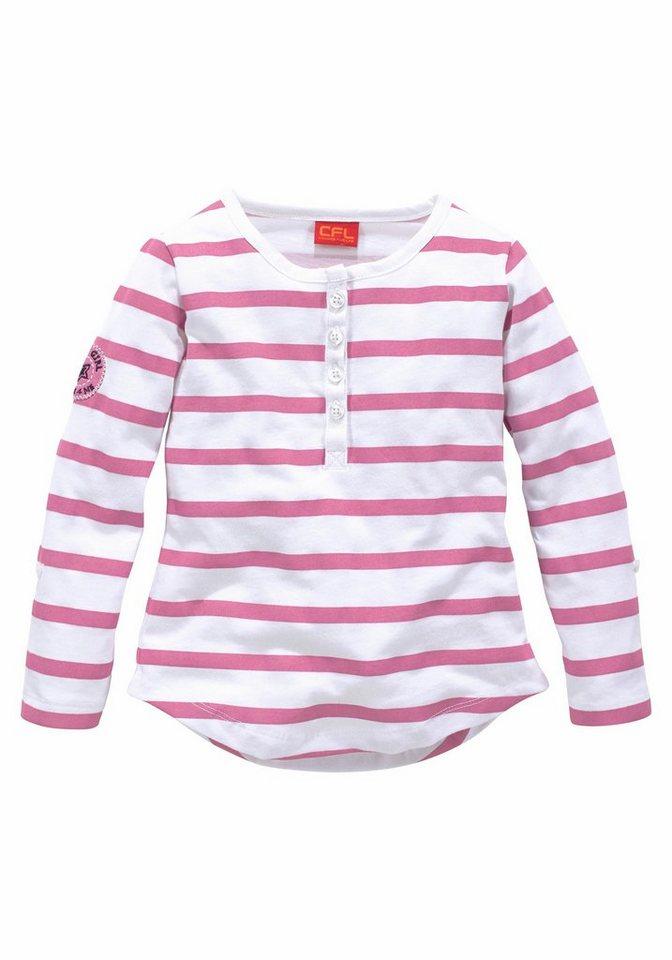 CFL Langarmshirt mit Streifen und Knopfleiste in pink-gestreift