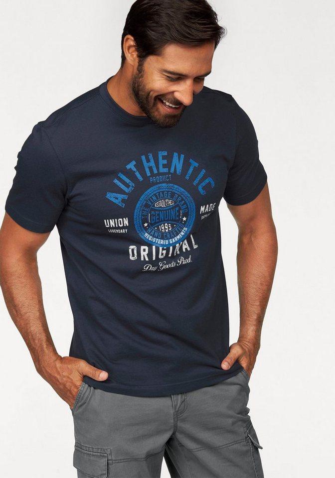Man's World T-Shirt mit großem Frontprint in marine